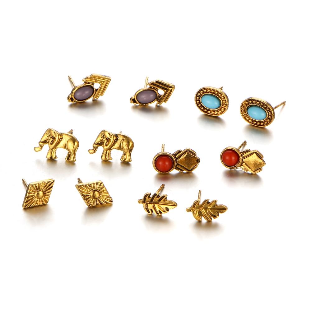 If Me 6pairs Cute Fashion Stud Earrings Sets Women Small Elephant Leaf  Flower Blue Stone Arrow