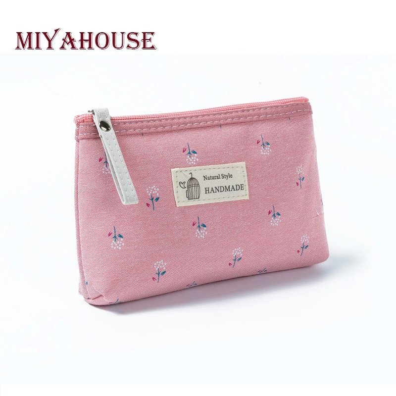 Miyahouse New Floral Printed Women Canvas Cosmetic Bag Small Lady Zipper Makeup Bag Girls Toiletry Bag Organizer Storage Case