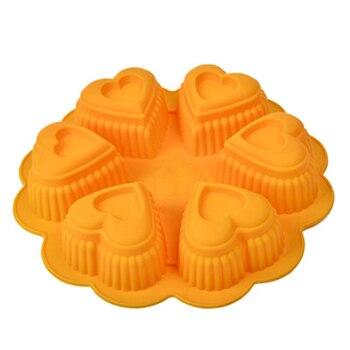 6 de doble capa molde de silicona con forma de amor serie bandeja para hornear bricolaje torta de Mousse de jabón vela molde de corazón de melocotón pudín de La jalea molde nuevo