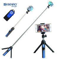 BENRO 33inch Handheld Mini Tripod Selfie Stick Bluetooth Extendable Monopod Selfie Stick Tripod For Smartphone And
