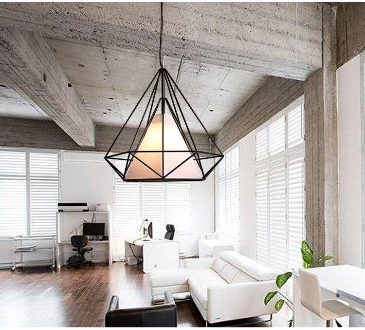 Modern Black Birdcage Pendant Lights Iron Minimalist Retro Light Scandinavian Loft Pyramid Lamp Metal Cage Without