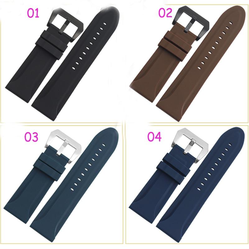 24 mm 26 mm Nuevo para hombre Negro y azul oscuro Caucho de silicona Impermeable Reloj deportivo Pulsera de banda Correa impermeable reloj de pulsera de silicona