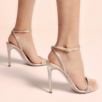 New Women Open Toe Elegant Sandals Crystal Women Summer Shoes Lady High Heels One Strap Buckle Dress Party Shoe Prom Daily