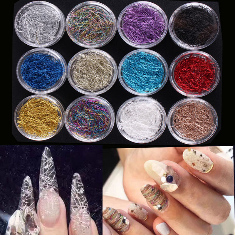 H 12 Box/Set 3D Nail Art Tips Extra Tiny Metal Wire Line With Transparent Case Shimmer DIY Nails Decoration Manicure 201