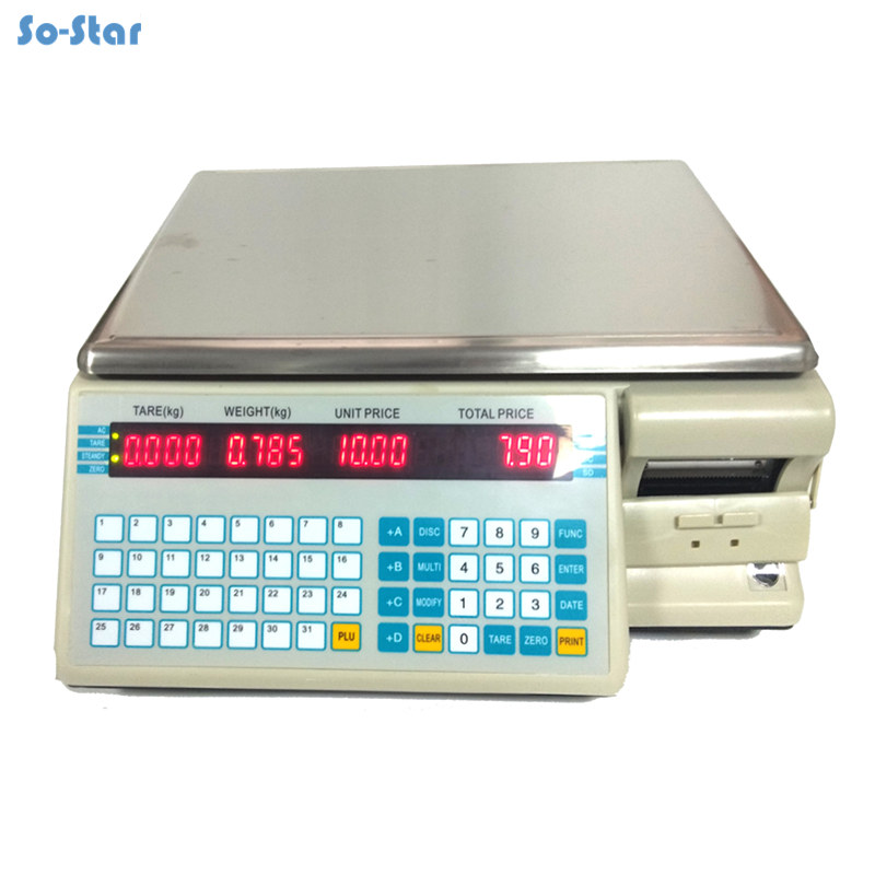 Barcode Bench Scale Dahua (TM-15A-5D) Commercial Price Computing Retail Electronic Balance With Printer Label Printing Scale