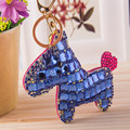 Free shipping luxury Horse Keychain tassel leather paste Rhinestone Animal Key chain ring for Women Bag charm Accessories Gift
