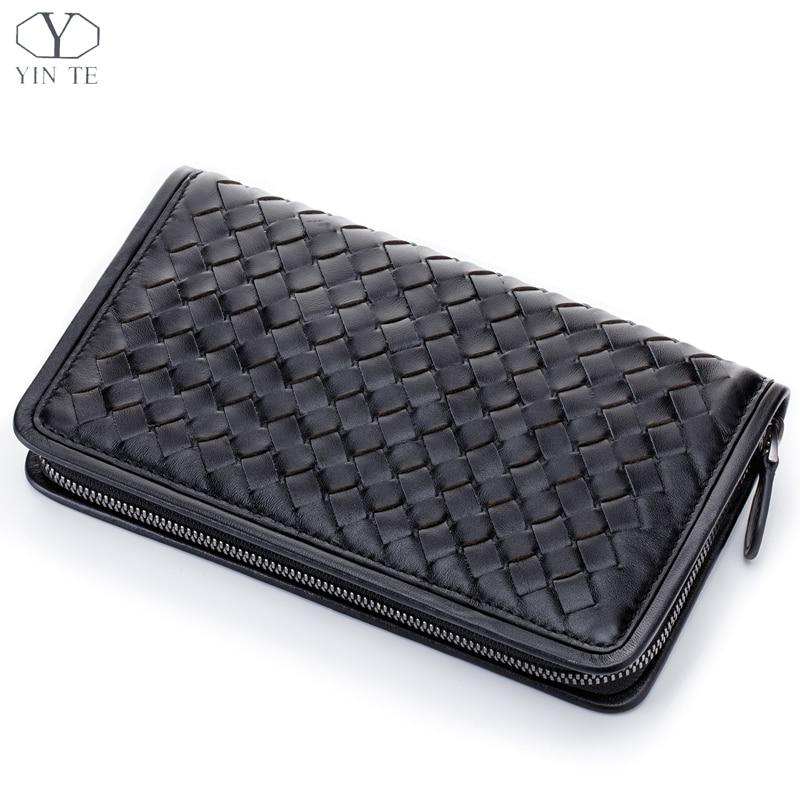 YINTE мужской клатч кошелек тканый кошелек из натуральной кожи английский стиль черный клатч Паспорт Кошелек наручные сумки портфель T6089 4