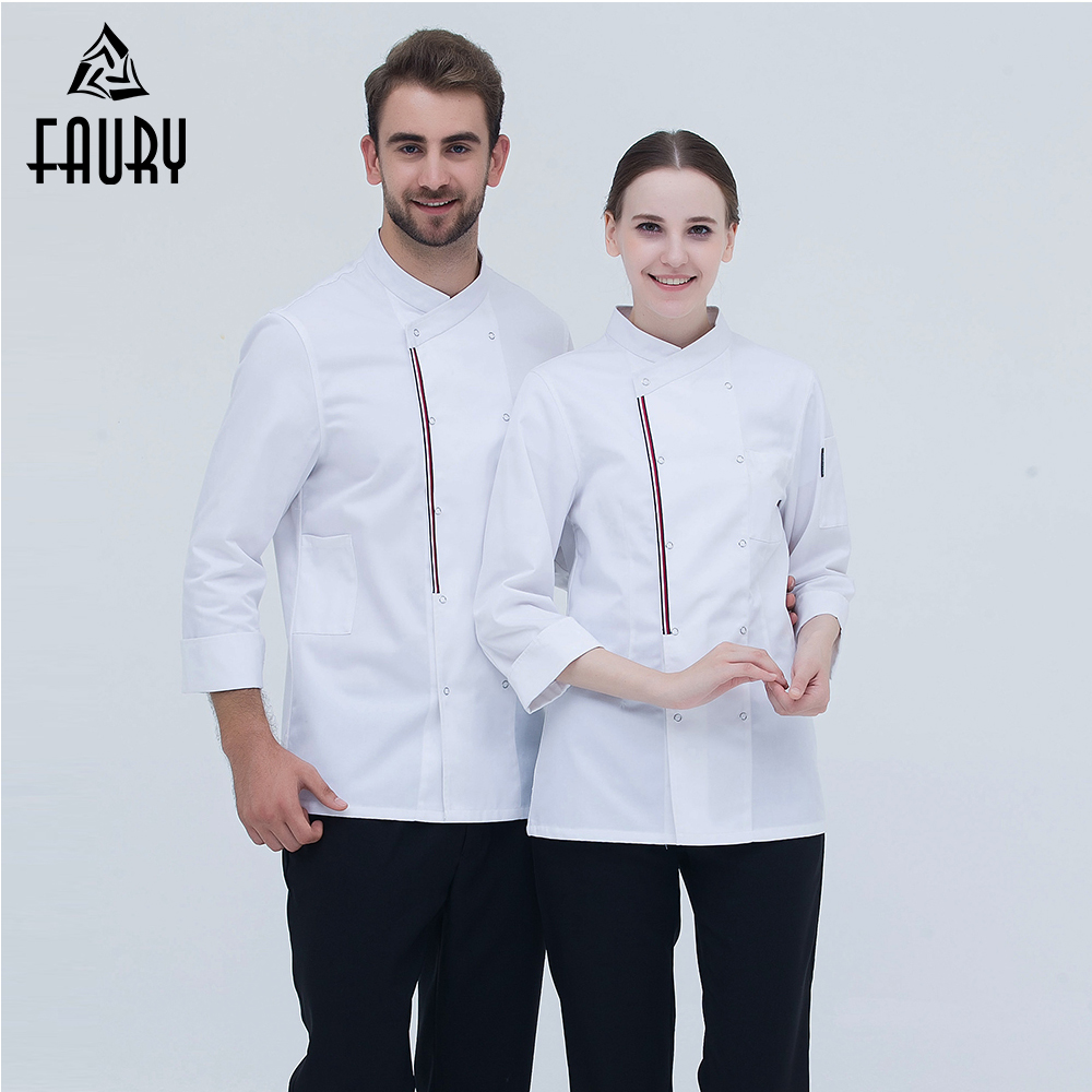 2018 Chef Uniforms High Quality Long-sleeve Double Breasted Food Service Bakery Restaurant Hotel Workwear Chef Coat Men Women
