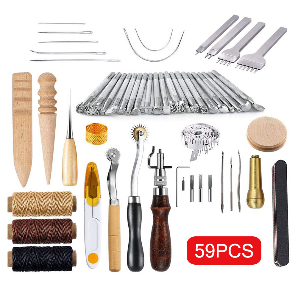 59 Pcs/Set Leather Craft Hand Tools Kit for Hand Sewing Stitching Stamping Saddle Making E2S