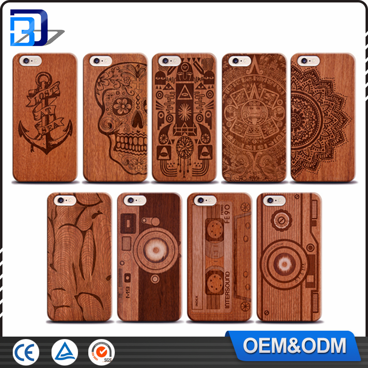 High Quality Shockproof Laser Engraving Natural Wood Phone Case For Iphone 5 5S 6 6S 6Plus 6S Plus 7 7Plus Cover Wooden