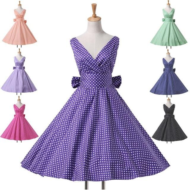 e793ca45199 Hepburn Style 7 Styles 1950 s Rockabilly Swing Evening Pinup Prom Retro  Cotton Dress Plus Size Women Clothing Vestidos CL6295