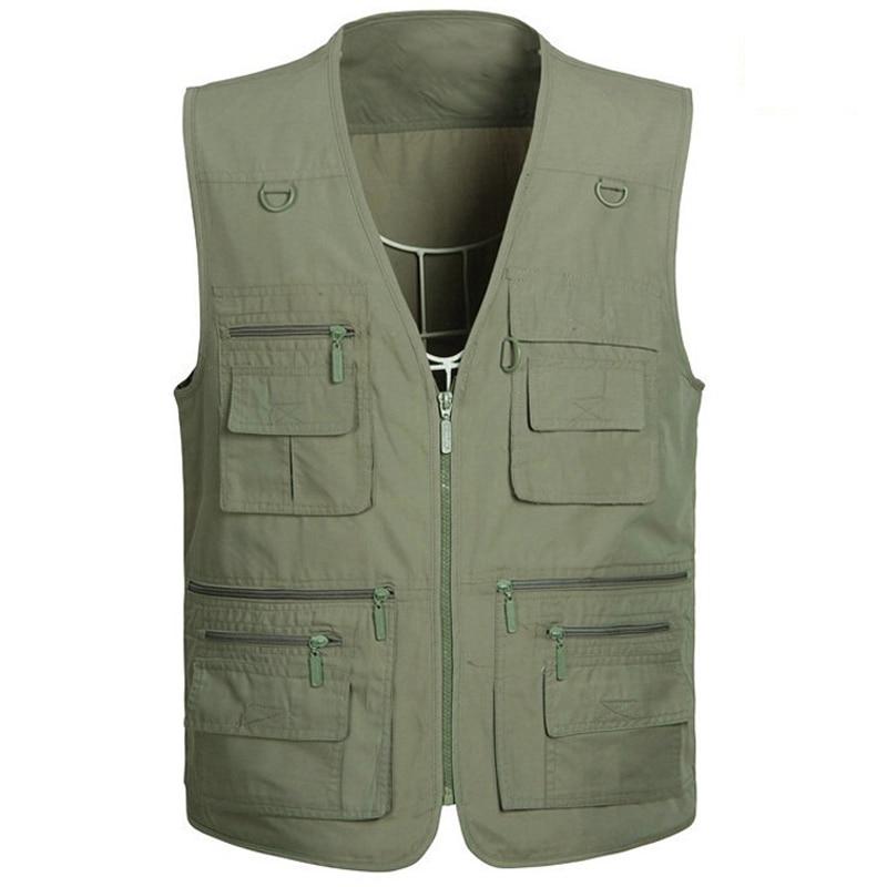 Plus Size 5XL Men Work Vests For Reporter Wedding Vest Mens Top Tees Top Clothes Khaki Military Style Tactical Vest For Men S961