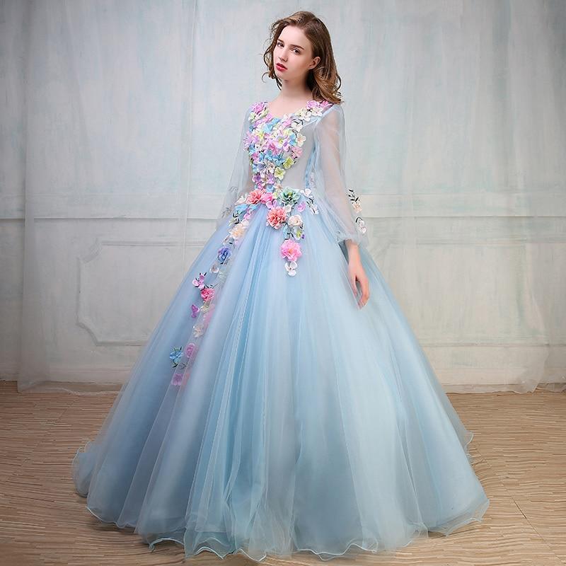 Medieval Renaissance Light Blue And White Gown Dress: Luxury Light Blue Flower Ball Gown Medieval Renaissance