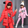 2016 new Russian winter !winter children girls white duck down coats overalls clothing set jacket, children's clothing