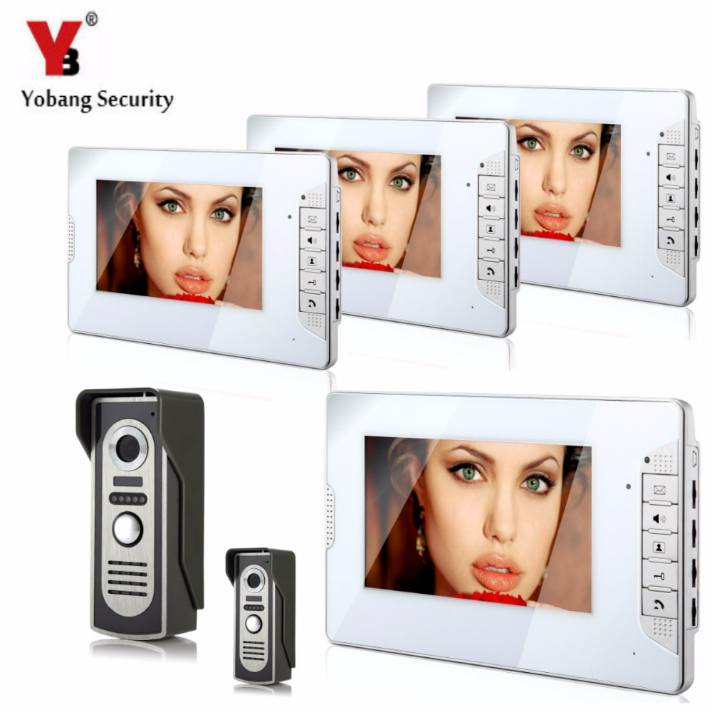 YobangSecurity Video Intercom 7Inch Monitor Wired Video Door Phone Doorbell Home Security Camera Monitor Kit For Home apartment yobang security 9 inch lcd home security video record door phone intercom system doorbell video monitor for apartment villa