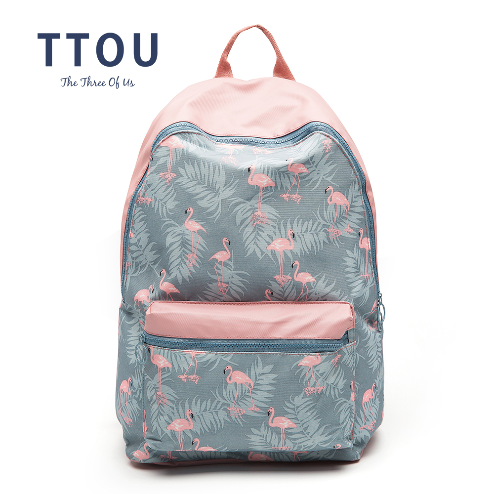 TTOU 3D Flamingo Cartoon Printing Backpack Stitching Floral Casual Daily Travel Bag Teenagers School Bag Mochila japan pokemon harajuku cartoon backpack pocket monsters pikachu 3d yellow cosplay schoolbags mochila school book bag with ears