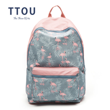 TTOU 3D Flamingo Cartoon Printing Backpack Stitching Floral Casual Daily Travel Bag Teenagers School Bag Mochila ttou paisley printing canvas backpack for women casual daily backpack teenagers school bag travel bag