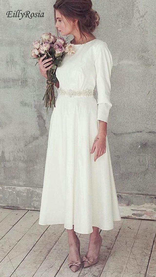 Well-Educated Long Sleeve Tea-length Wedding Dress White Rhinestones Belt Satin A Line Elegant Reception Dress Bridal Gown Robe De Mariage High Safety Weddings & Events