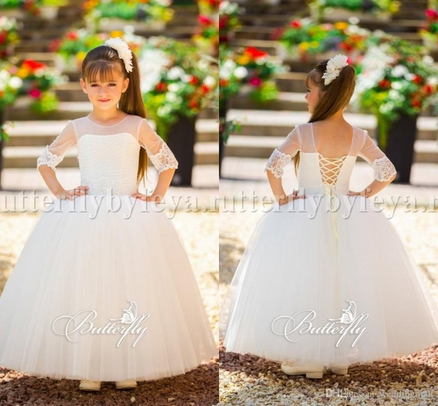 Arabic 2017 Long Ball Gown Pearls Embellished Top Pliques Kids Lace Flower Dresses Tulle Half