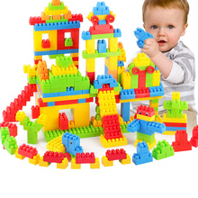 SLPF New Children Large Particles Building Blocks Toys Plastic Spell Insert Brick Baby Education Assembling Toy GiftF06
