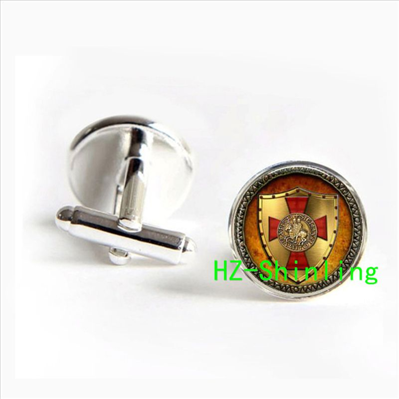 Cf-00618 The Knights Templar jewelry The Knights cufflinks Templar in silver glass Cabochon cufflinks for women or men 2017 silver tone really work compass cufflinks cufflinks vintage style for men