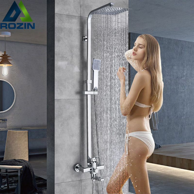 Rozin Chrome Shower Cabin Faucet Set Bathroom Rainfall Shower Mixers Towel Swivel Spout Bath Shower Crane Hot Cold  Mixer Tap
