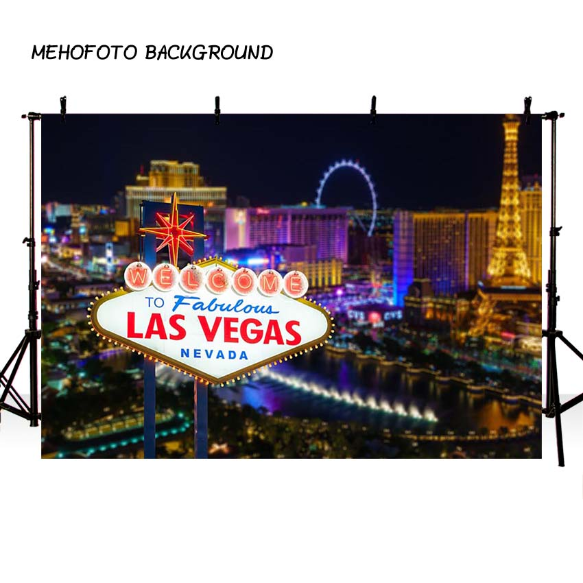 MEHOFOTO City Street Backdrop for Photography Las Vegas Night Sign Party Background for Photo Booth Printing Backdrop -407