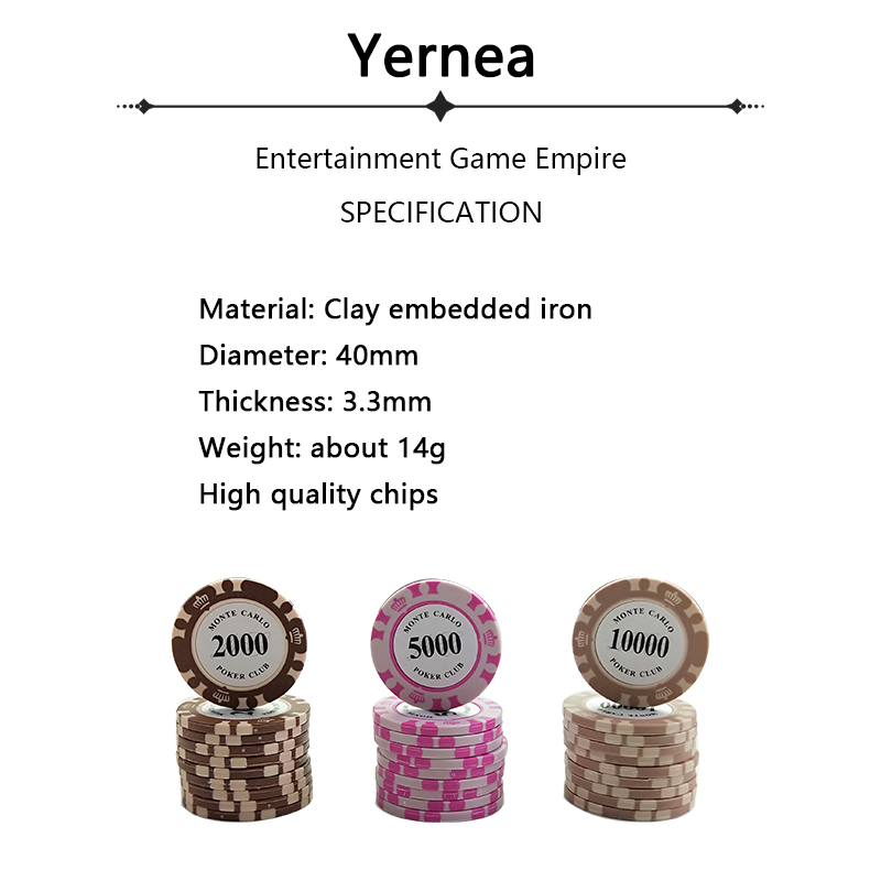 Yernea 1PCS Playing Card Chips 14g Clay Embedded Iron Texas Hold 39 em Playing Chip Poker Baccarat Coin Baccarat 14 Colors in Poker Chips from Sports amp Entertainment