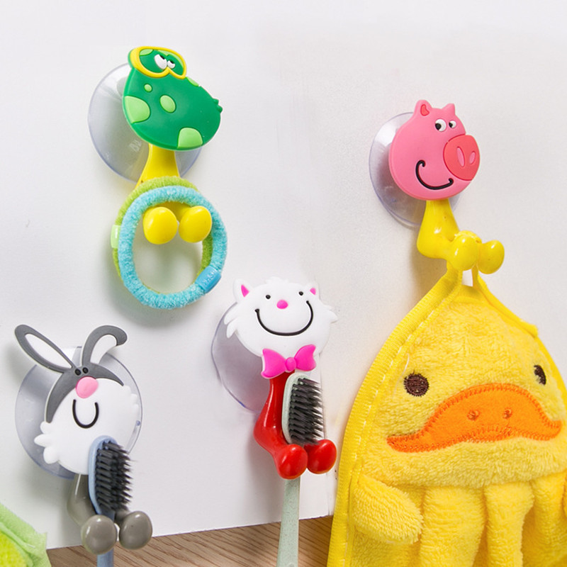 XUNZHE Children's toothbrush holder cartoon animal Toothbrush Holder Fashion Bathroom Brush Holder Tooth Cup Wall Mount Rack image