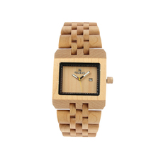 REDEAR Fashion Women's Men Wrist Watch Hand Make Wood Watch Square Shape Dial Watch With Calendar relogio feminino P25
