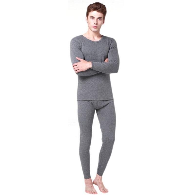 Winter Warm Men 2Pcs Cotton Thermal Underwear Set Thicken Long Johns Tops Bottom Navy Blue Dark