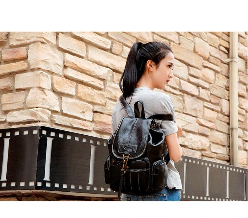 HTB15Bmybo rK1Rjy0Fcq6zEvVXae Vintage Women Backpack for Teenage Girls School Bags Large Drawstring Backpacks High Quality PU Leather Black Brown Bag XA658H