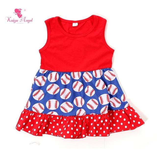2017 Baseball Dress Toddler Girl Dresses Summer Dress Kids clothes Red  Royal Blue White Baseball Dresses 6ac36b1cce
