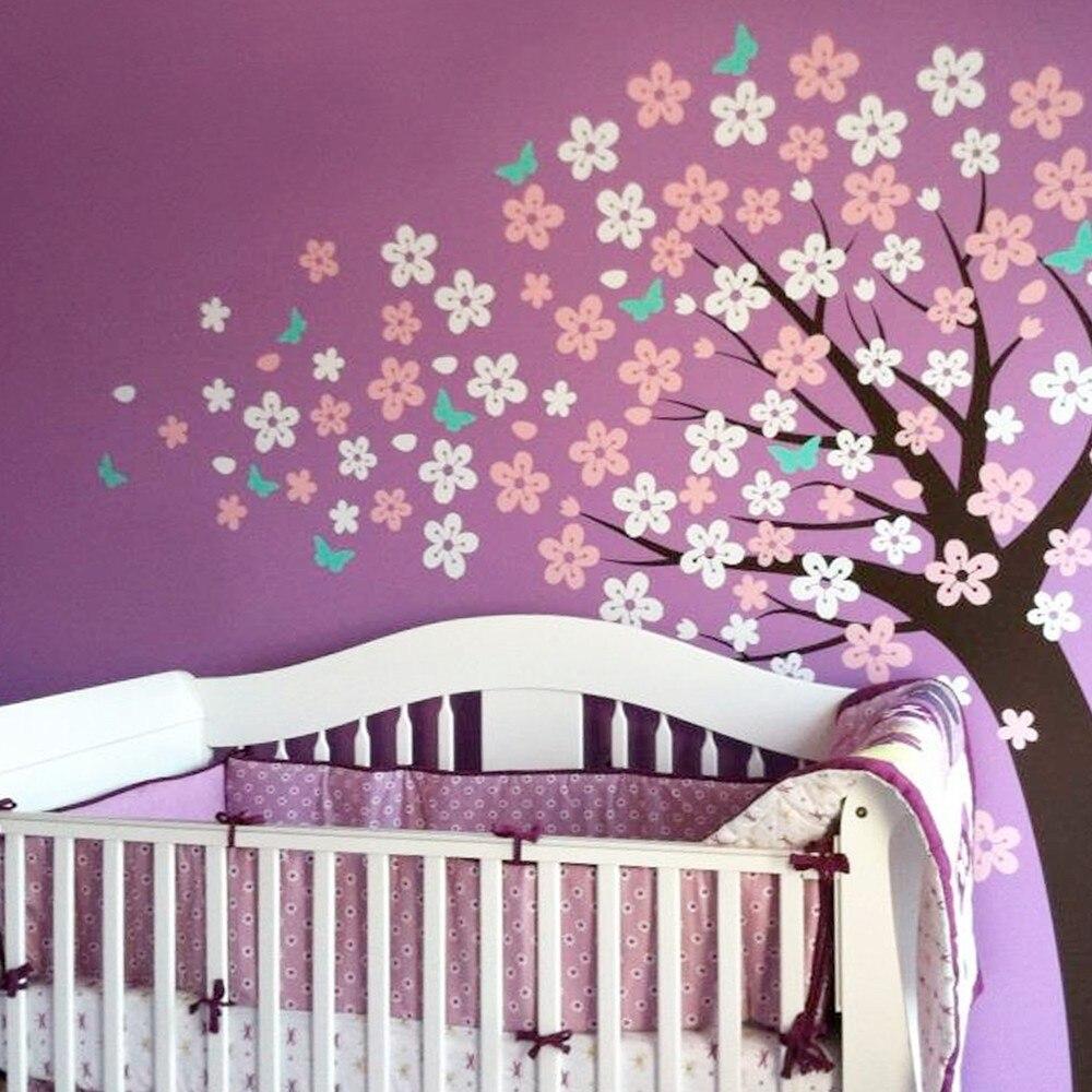 Belles fleurs romantiques vinyle Stickers muraux amovibles de haute qualité Stickers muraux décor bébé enfants chambre papier peint Mural A403C