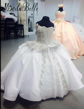 Flower Girl Dresses For Weddings Appliques Crystal Floor Length Communie Jurk Meisje Ball Gown Vestidos De Primera Comunion