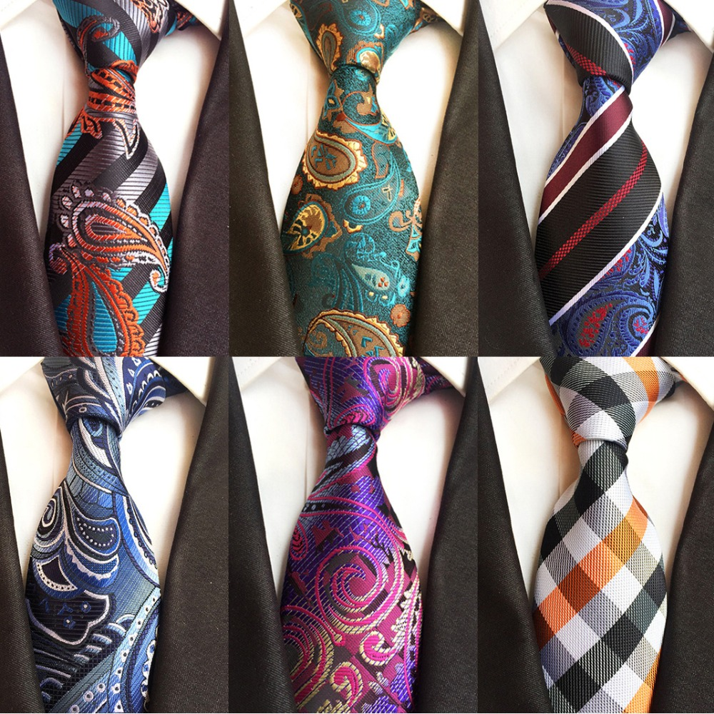 Ricnais Luxury 8cm Men's Classic Tie Silk Jacquard Cravatta Floral Plaids Necktie Striped Ties Man Business Wedding Accessories