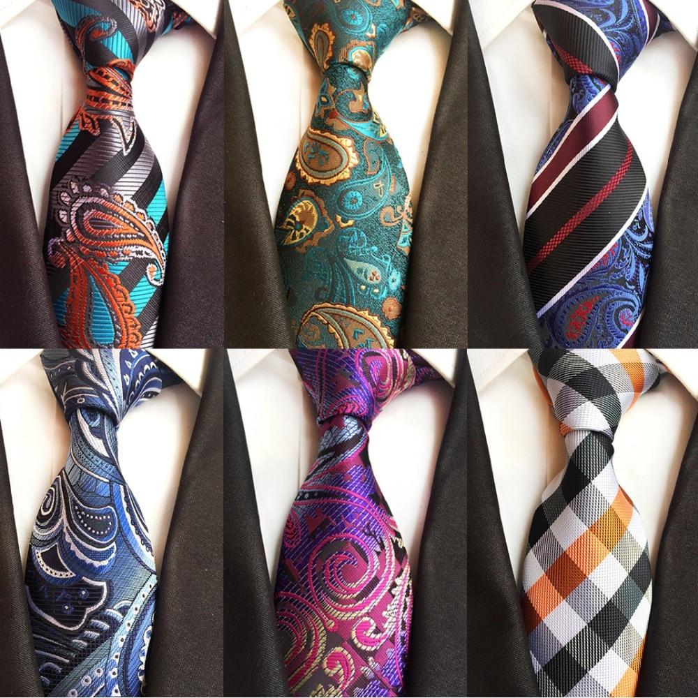 Ricnais Luxury 8cm Men's Classic Tie Silk Jacquard Cravatta Floral Plaids Necktie Striped Ties Man Business Wedding Accessories