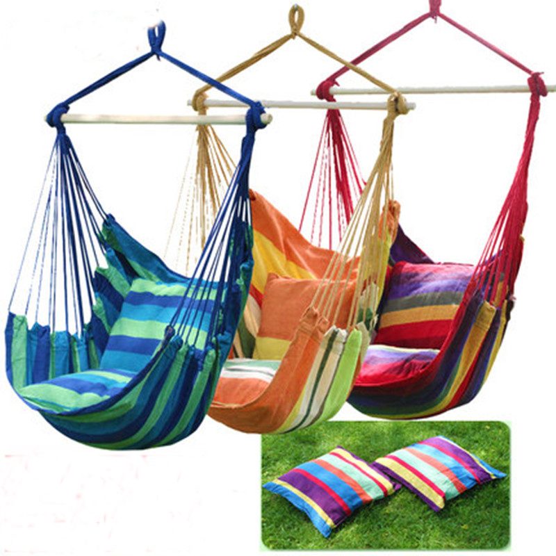 Swinging hanging chair hammock  thick canvas hammock outdoor camping chair dormitory 2pillows swinging hanging chair hammock rocking chair thick canvas hammock outdoor camping chair dormitory bedroom swing send tying pouch