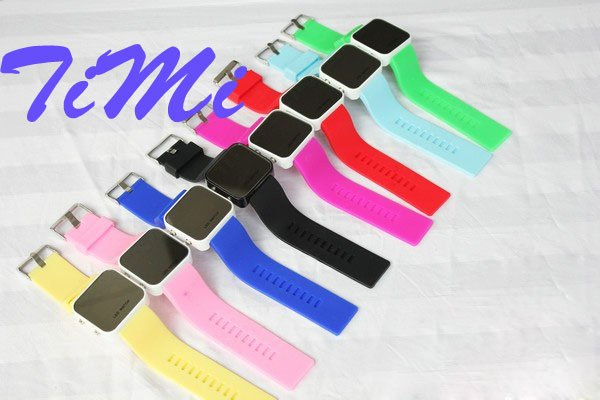 New jelly Stylish LED Digital Date mix color Sport Watch silicone watch cool freeship