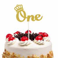 Cake Toppers corona Bandiere di Compleanno Dei Capretti di Un Anni Cupcake Topper Anniversario di Nozze Della Sposa Del Partito Baby Shower di Cottura FAI DA TE di Natale