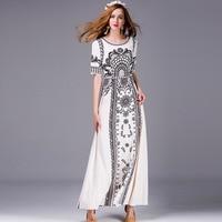 Vintage Long Dress 2016 Summer Hot Sale Short Sleeve Ethnic Style Print Patchwork High End Ladies