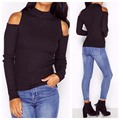 New Year Arrival Autumn Winter Style Knitted Long Sleeve Solid Color Off The Shoulder Slim Fit Top Women Tee Free Shipping Shop