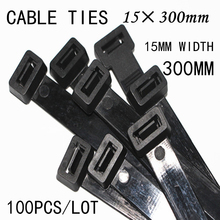 100pcs/lot 15*300mm Black/White Plastic Nylon Wire Tie Bring Label Clasp Fixed Wraps Network Cable Cord