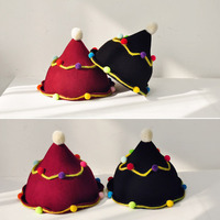 2 Pcs Lot Hight Quality Hand Made Unique Santa Hat Cute Wool Edge Curl Awl Cap