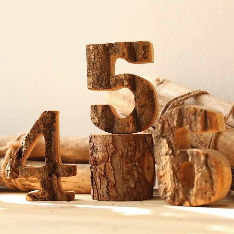 10 cm altura números de madera artesanía de madera retro Decoración ...