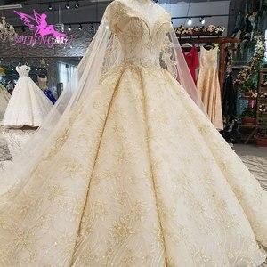 Image 5 - Aijingyu princesa vestidos de casamento sexy pêssego recepção glitter vestido de casamento curto