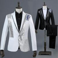 Blazer men formal dress latest coat pant designs marriage suit men Photo studio Colorful diamond wedding suits for men's white