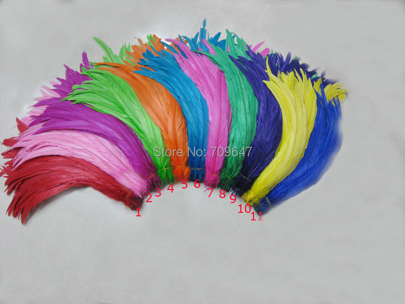 Brand New 200Pcs Lot Quality Colored 14 16inches 35 40cm Rooster Tail Feathers For Costume Mask
