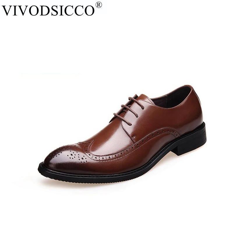 VIVODSICCO Brown Genuine Leather Men Brogues Shoes Lace-Up Bullock Business Dress Men Oxfords Shoes Male Formal Wedding shoe new 2018 fashion men dress shoes black cow leather pointed toe male oxfords business shoes lace up men formal shoes yj b0034