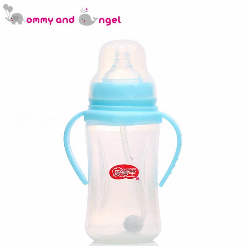 Мама и ангел 300 мл синий и розовый классический мальчик и девочка бутылочку для кормления BPA бесплатно кремния соски молочных бутылочку для ... ...